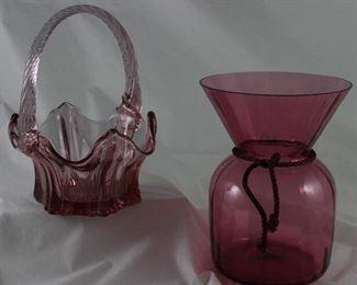 "Pilgrim Glass Cranberry 7"" Vase"