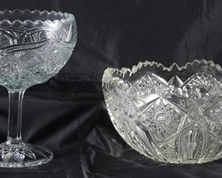 Early American Press Cut Glass Compote.  Indiana Glass Co. Press Cut Glass Bowl