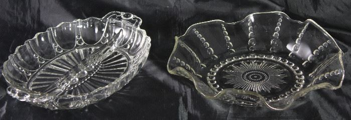 """Anchor Hocking """"Oyster and Pearl"""" Ruffle Edge Salad/Fruit Bowl and Oval David Relish (C. 1938-1940)"""