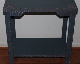 "Vintage Depression Era  Blue Hand Painted Side Table (25""H x 22""W x 13""D )"
