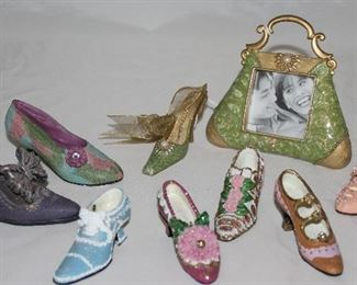 Collection of Miniature Shoes and Enamel Metal Purse Frame with Shoe Ornament