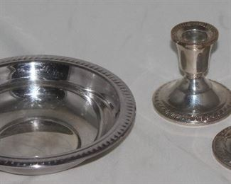 """F.B. Rogers Silver Plate Bowl (6.5""""D) Sterling Candlesticks"""