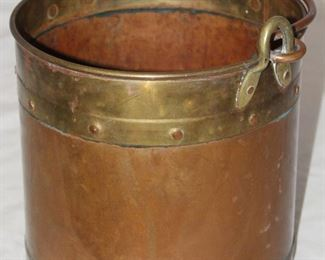 "Vintage Bail Handle Copper and Brass Trim Bucket (10"" H x10""D)"