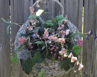 Wicker Crescent Basket with Silk Floral Arrangement