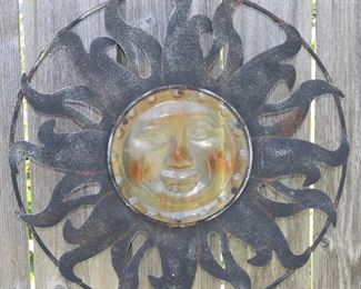 Large Metal Sun Medallion Wall Plaque