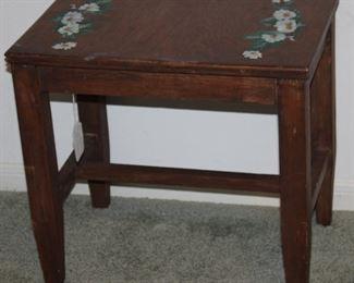 "Walnut Depression Era Bench/Table  W/Hand Painted Daisy (18""H x 19.5""W x 13""D)"