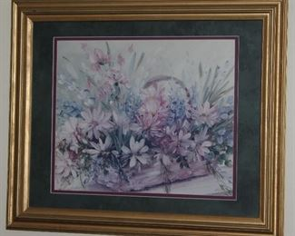 """Framed Double Matted Pastel Floral Print (36"""" x 29.5"""")"""