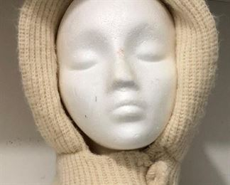 Vintage Ecru Knit Hood with Knit Covered Buttons