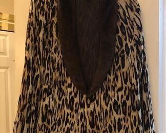 Chico's Faux Fur Trim Leopard Print Jacket