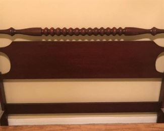 Antique Spool Turned Full/Double Bed Headboard Close up view.