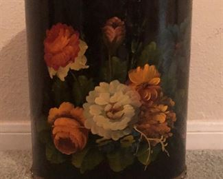 Vintage Black Tole Painted Roses Trash Can