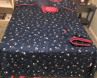 Custom Made Bedspread, Dust Ruffle, Pillow Shams, Valance with side Swags and Throw Pillows. Simmons Elegance Extra Firm Beautyrest  Queen Size Mattress and Box Springs with Frame