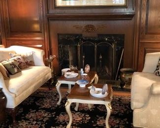 Large area Rug, Lladro, Antique Hunting Prints , Lithographs and Oil Paintings, Sofas , Tables Fireplace Tools