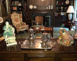 Antique furniture, Sterling Silver Tea Set, Porcelain, Crystal, Albums, Books, Original Art Work , Chandeliers, Fixtures and Fittings