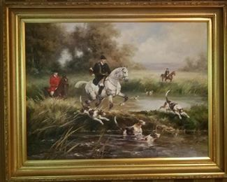 Large Oil Painting of an English Hunt