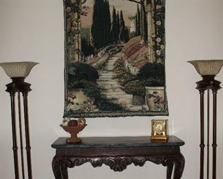Beautiful Garden Path Wall Tapestry shown over Rosewood Console Table with 2 Torchiere Floor Lamps