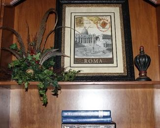 """""""Roma"""" Rome Italy Stamp PrintDoubled Matted & Framed (18.5"""" x 22.5""""), Silk Floral & Feather Arrangement , Finial Decor, books, etc."""