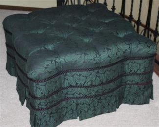 "Custom Green Brocade Upholstered Button Tufted Ottoman (30"" x 30"")"