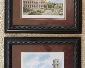 """Frame and Matted Italy Prints(8""""x10"""") : Colosseum Piazza del Colosseo, Rome and The Leaning Tower of Pisa, """"Torre pendente di Pisa"""" (17 1/4"""" x 14 1/4"""")"""