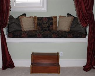 """Window Seat with Custom Cushion and Pillows. Empire Style Steps Hand-Painted Burgundy with Gold Accents (26.5""""W x 16.5""""H x 17.5""""D)"""