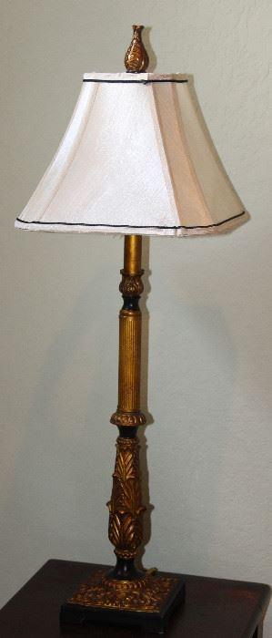 "Acanthus Leaf Bronze Leaf Tall Column Lamp (33.5""H) w/Silk Shade"