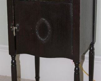 """Antique Smoke Stand with Drawer and Single Door Cabinet (14 1/2""""W x 27 1/2""""H x 14 1/2""""D)"""