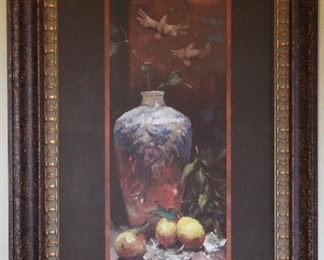 """Floral Still Life w/Lemons. Double 4"""" Mat with Brown, Bronze Accented 4""""Frame (25"""" x 39"""")"""