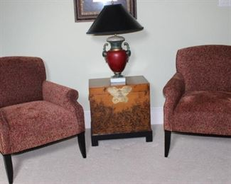 """Southwestern Furniture Co. Ted Chenille  Custom Game Chairs (2 of 4 shown).  Also Pictured:  Oriental  Style """"Butterfly"""" Chest and Red Urn Style Table Lamp with Black Lamp Shade (30""""H)"""