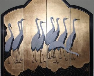 """Oriental 4 Panel Wall Screen 19th Century Japanese Inspired Hand Painted Cranes on a Hand Rubbed and Lacquered Back Ground.  (47""""W x 48"""" Center Height)"""