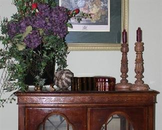"""Cherry Small Lighted Credenza With 2 Glass Shelves (39""""W x 30""""H x 15""""D).  Also Shown:  Large Hydrangeas Arrangement with Red Silk Roses w/ Foote Black Metal Tin  w/ Gold Accents"""