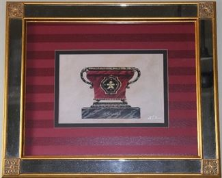 """Paragon Picture Gallery """"French Cachepot IV"""" by Artist B Sykes c.2002 Print (16 x 20). Burgundy Shadow Stripe 4""""Double Mat in a Mirrored Gold Leaf Frame"""