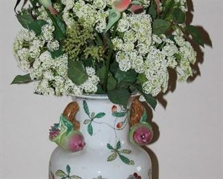 "Porcelain Hand Painted Fig Handle Vase (13""H)  w/ Silk Roses Arrangement (1 of 2 shown)"