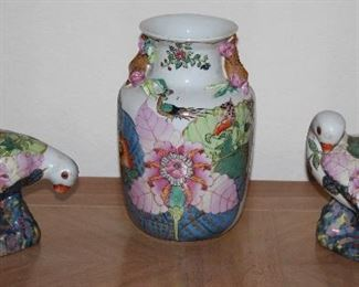 """Hand Painted Floral Vase W/Peacocks (8.5""""H) and Doves(6.5,W x 5.5""""H)"""