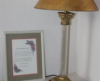 """Crystal Corinthian Column Table Lamp with Gold Shade (30""""), Hand Painted Trinket Porcelain Box and Framed Daughter-In-Law Verse Print (12"""" x15"""")"""