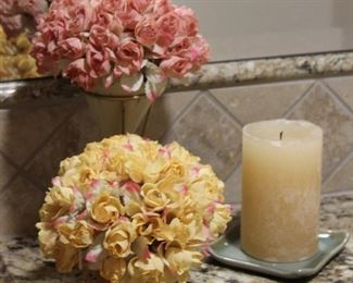 Tussie Mussie in a Stand with Silk Rose Bouquet, Silk Rose Bouquet in Terra-cotta Pot and Scented Candle with Pier I Ceramic Tray