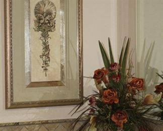 """Adorned Sconce I Shadow Boxed Triple Matted w/Gold Leaf Frame (21.5""""W x 35.5""""W)Pedestal Marble Art Pedestal Vase with Silk Rose Floral Arrangement"""