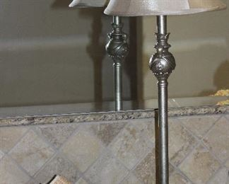 """Silver Tone Vanity Lamp (30""""H) show with 10"""" Square Wood Pedestal with Bath Items"""