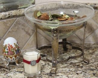 """Art Glass Bowl in. Solid Brass Footed Stand, Porcelain footed Egg Trinket Box and """"The Berries"""" Scented Hexagon Candle"""