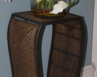 """Metal Frame Rattan/Wicker Woven Plant Stand (24.5""""H x 10.5 """"W x 10.5""""D ) Shown with Silk Calla Lily  Floral Arrangement"""