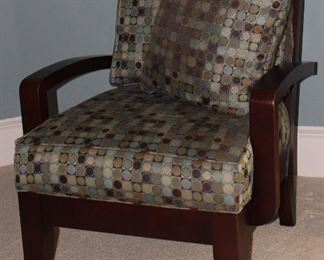 2nd View: Bauhaus Furniture Java Collection Manitoba & Aqua Upholstered Wooden Armchair.