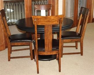 """Glen Ellen Professional 48"""" Pedestal Game Table by California House w/Reversible top.   Shown with 4 Solid Wood  Side Chair with Upholstered Expresso Leather Seats"""