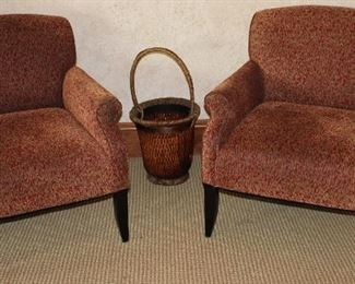 """Southwestern Furniture Co. Ted Chenille  Custom Game Chairs (2 of 4 shown).  Also Pictures: Tall 27"""" Cane and Hemp Basket 14""""H)"""