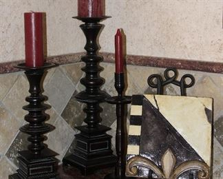 """Z Galleries Westgate Candle Stands:  12"""" Slender  Candle Holder,  17.5""""  and 13"""" Candle Stands.  Shown with Fleur de Lis Decorative Tile"""