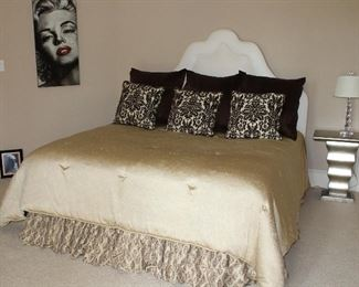 White Faux Leather Padded King Size headboard and a Custom Made Silk Reversible Champagne/Brown Comforter and Dust Ruffle shown with Z Galleries Feather Euro Pillow & Brown Pinched Pleat Sham (3 ea.) and brown & White Cut Velvet Large Throw pillow (3 ea)