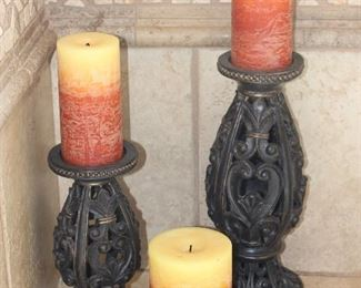 """Filigree Candle Stand (10""""H & 14""""H) with Yellow-Orange Variegated Candles"""