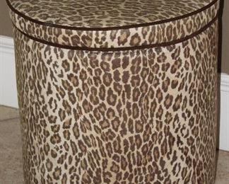Faux Suede Leopard Print Storage Ottoman/Stool