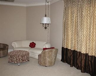 View 9f Seating area show Gold and Brown Silk Drapery