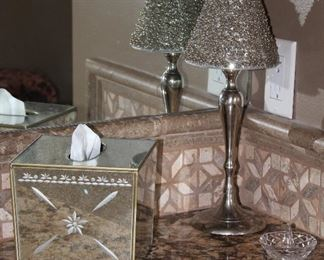 Venetian Style Mirrored Etched Glass Kleenex Caddy, chrome Candle Lamp with Beaded Shade (1 of 2 shown) and Made in Germany Crystal Ring Holder