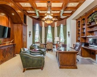 View of Office: Hancock and Moore Green Leather Club Chairs, Mahogany/Cherry Executive Desk, Alder & Cherry Audio Console, Etc.