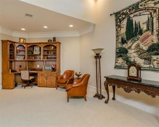 Upstairs Landing with Build-in Cabinet/Desk, Torchiere Floor Lamp (1 of 2 shown), Console Table and Wall Tapestry